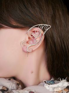 Elf Bride - elf ears, no piercing ear cuff, elven ear cuffs, silver plated jewelry, wire wrappped ear cuffs