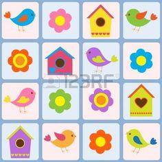 Des oiseaux, des fleurs et des nichoirs. Seamless pattern photo