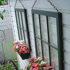 Old windows decorate a garden