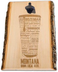 MONTANA Craft Beer Typography Bottle Opener engraved in Wood. Laser Engraved Custom. Mens gift