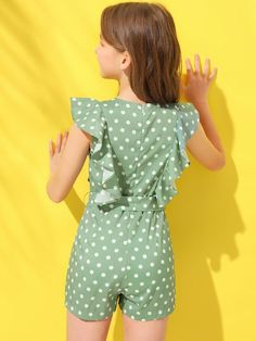 To find out about the Girls Polka Dot Ruffle Armhole Belted Romper at SHEIN, part of our latest Girls Jumpsuits ready to shop online today! Preteen Girls Fashion, Girls Fashion Clothes, Kids Fashion, Dresses Kids Girl, Kids Outfits Girls, Girl Outfits, Jumpsuits For Girls, Girls Rompers, Little Girl Leggings