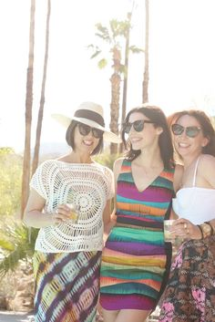 """""""Me with Jessica Paré and Janie Bryant at our pool party. Jessica and her boyfriend have a house five minutes away from ours in Palm Springs, and they're also our neighbors in Silver Lake. Janie came with Jessica."""" [Photo by Jonathan Skow/ @ mr turk]"""