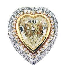 5.27ct Fancy Yellow Diamond Heart Shape Ring in 18K White/Yellow Gold Setting