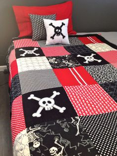 Single Skull Quilt  Ready to ship now, Single or Twin bed..one only. $250.00, via Etsy.