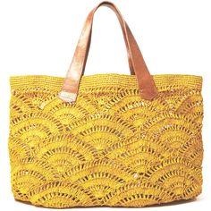"""Beautiful #crochet bag with leather handles. A real inspiration!"" #KnittingGuru ** http://www.KnittingGuru.etsy.com"