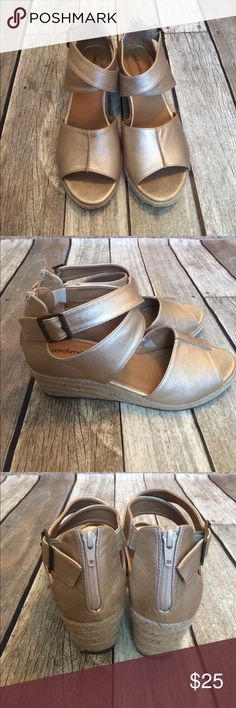 Comfortview crisscross wedges Very cute!! Only worn a couple times! Great condition. Buckles and zippers work. Champagne color. Comfortview Shoes Wedges