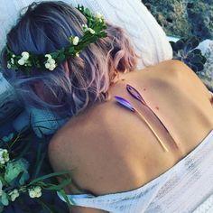 Baby Crocus Spine Flower Tattoo in Vibrant Purple