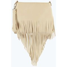 Boohoo Amy Fringed Cross Body Bag ($16) ❤ liked on Polyvore featuring bags, handbags, shoulder bags, nude, fringe purse, crossbody shoulder bags, shoulder strap bag, brown shoulder bag e fringe backpack