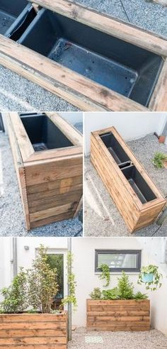 DIY Inspiration für ein Terrassen makeover in Schattenlage mit vorher nachher Bildern und selbst gebauten DIY upcycling Pflanzkübeln
