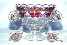 Cherry Punch Bowl with Cups and Hooks