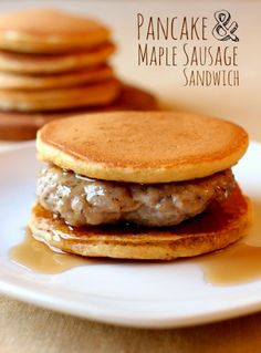 Way better than the drive-thru, make Pancake & Maple Sausage Sandwiches for breakfast! Homemade maple sausage patty with maple pancakes. Prepare ahead and freeze for a quick breakfast! www.mantitlement.com