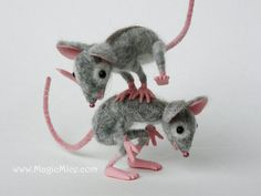Felted Mice playing Leapfrog. Needle felted life by FeltSpecial, €226.00