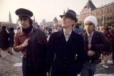 David Bowie, Iggy Pop and Pat Gibbons walking through Red Square, Moscow, April 1976 by Andrew Kent