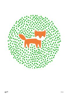 Fox in the Grass Print  foxes Christmas happy by clairehartigan, $41.00