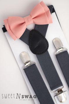 Lanes used this company.   15.00 for tie and suspenders.  SUSPENDER & BOWTIE SET.  Newborn - Adult sizes. Dark Grey / Gray Suspenders. Coral Bowtie.