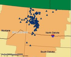 A look at drilling activity in the Bakken area of western North Dakota (172 active rigs), which is responsible for pushing the state's oil production above one million barrels per day in recent months.