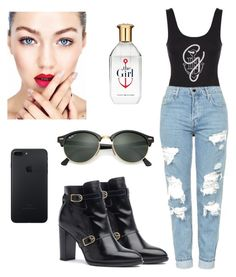 """""""Gigi Hadid"""" by natalia-tommo ❤ liked on Polyvore featuring Topshop and Ray-Ban"""