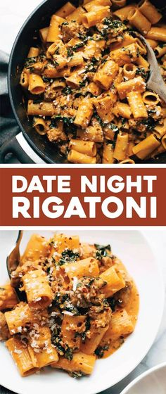 Date Night Rigatoni! AMAZING rigatoni with sausage, kale, tomato cream sauce, Parmesan, and red pepper flakes! Perfect for date night! Pasta Recipes, Dinner Recipes, Cooking Recipes, Healthy Recipes, Seafood Recipes, Cod Recipes, Carrot Recipes, Salmon Recipes, Bread Recipes