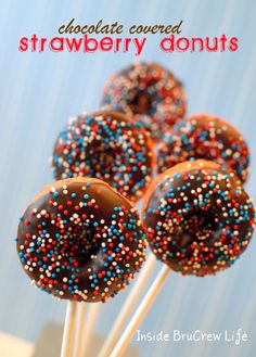 Chocolate Covered Strawberry Donuts - easy baked donuts dipped in chocolate
