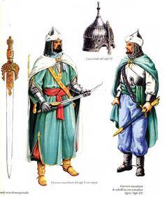 1 guerrier arabe du 10eme siècle Omeyyade 2 guerrier musulmans arabe andalous du 12eme siècle