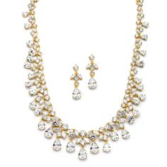 Gold Cubic Zirconia Wedding Statement Necklace and Earring Set - Affordable Elegance Bridal -