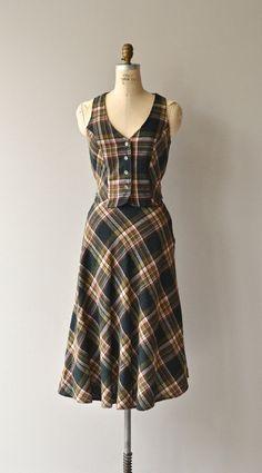 Drogheda skirt & vest 1970s plaid dress 70s plaid by DearGolden