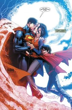 There have been two Supermen and Two Lois Lanes running around the DCU for a while. This week's Superman Reborn installment looks to resolve that. Mundo Superman, Superman Love, Superman And Lois Lane, Superhero Superman, Superman Family, Superman Wonder Woman, Superhero Family, Superman Stuff, Spiderman