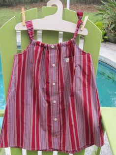 Red/purple dress size 4-5 $22 Daddy's Button Shirt - Sold 11/5/16 Lk Eola Fiesta in the Park Child's dress made from men's shirts
