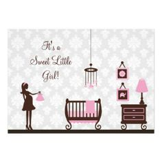 Damask Baby Shower : Girl : Invitation
