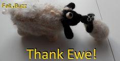 Thank Ewe!  Needle felted sheep by Felt.Buzz