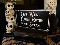 goth satan hail wood horror sign rustic witch occult witchcraft atheist satanism gift idea spooky macabre bedroom affordable badpin lolt