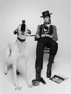 David Bowie and his dog Max by Terry O'Neill