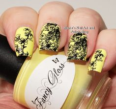 Take 99: The base is Fancy Gloss Lemon Pie stamped with Jolifin Night Black stamping Polish, plate UberChic The Far East 01, stamper UberChic XL clear stamper.