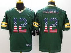 """$23.88 at """"MaryJersey"""" (maryjerseyelway@gmail.com) #12 Aaron Rodgers - Nike Packers Green Team Color Men Stitched NFL Elite USA Flag Fashion Jersey"""