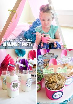 "Kellogg's Cereal ""Glamping"" Party!  This party is girly, easy to put together, and fun!"