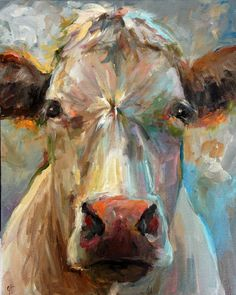 Cow Painting Freida 16x20 Original Painting by CariHumphryArt. A great example of a painting more about the stroke than the subject. It really is a beautiful portrait of a cow, though. lol