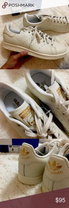 Adidas Stan Smith size 8 NWT brand new in box Stan smith off white with gold. Men's size 8 Adidas Shoes