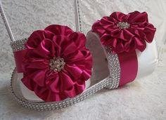 Flower Girl Baskets in White & Raspberry