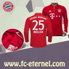fc-eternel:Maillot Bayern Munich Manche Longue MULLER 25 Domicile 16/17 Maillot Bayern Munich, Lewandowski, Football, Sweatshirts, Sports, Sweaters, Tops, Baby Born, Long Dress Patterns
