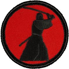 "Retro Samurai Patrol Patch - 2"" Diameter Round Embroidered Patch"