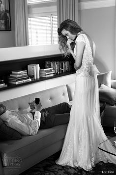 lihi hod wedding dresses 2015 bridal gown plunging v neckline cap sleeves lace bodice sheath dress style noelle side view