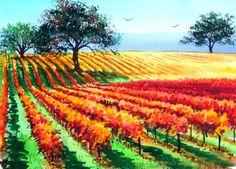 Autumn Vineyards by Ronald Pratt ~ watercolor