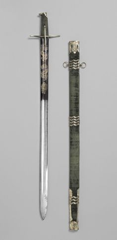 # 1682 Hungarian Sword and scabbard at the Philadelphia Museum of Art, Philadelphia Swords And Daggers, Knives And Swords, Cold Steel, Medieval Weapons, Philadelphia Museum Of Art, Historical Artifacts, Renaissance, Arm Armor, Rare Antique