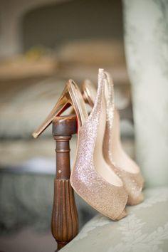 Glittering gold Christian Louboutin wedding shoes