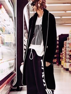 EDITORIAL: Rachel Macknight in Interview Magazine November 2015 by Dominick Sheldon - Snack Run - Photographer Dominick Sheldon shoots in a supermarket of layered, roll-out-of-bed mixture of graphic sportswear pieces and slouchy pyjama looks as beauty Rachel Macknight wears the likes of Alexander Wang, Tom Ford, Comme des Garcon & Acne Studios, styled together by Andrew Mukamal for the November issue of Interview Magazine. Hair by Hiro + Mari, Make-Up by Susie Bol.