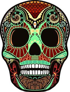 Day of the Dead Decal Rockabilly Rock Vintage Sugar Skull Sticker This is a Skull sticker in full color. It is made of vinyl. The decal measurements is X Caveira Mexicana Tattoo, Tattoo Caveira, Sugar Skull Tattoos, Sugar Skull Art, Sugar Skulls, Skull Tattoo Design, Skull Design, Tattoo Designs, Mexican Skulls