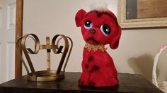 Vintage 70's Red Flocked Child's Puppy Dog by thelovelaceplace