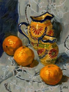 Angie Wood Art: Quimper Jugs with Satsumas Art Sites, Fruit Art, Sugar Bowl, Contemporary Artists, Wood Art, Printmaking, Still Life, Shells, Gallery