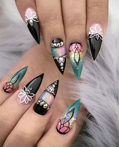 Trend Stiletto Nails in Stiletto Coffin Nails; Nails Acrylic; Informations About Gorgeous Trend Stilet Stiletto Nail Art, Cute Acrylic Nails, Cute Nail Art, Beautiful Nail Art, Acrylic Nail Designs, Nail Art Designs, Get Nails, Fancy Nails, Love Nails