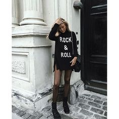 sweater tumblr black dress sweater dress quote on it long sleeve dress bag black bag boots flat boots black boots tights mesh rock
